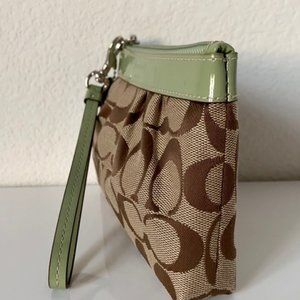 Coach Brown&Green Canvas with Patent Trim Wristlet